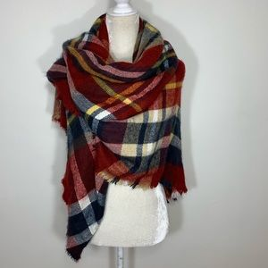 Zara • red plaid oversized blanket scarf